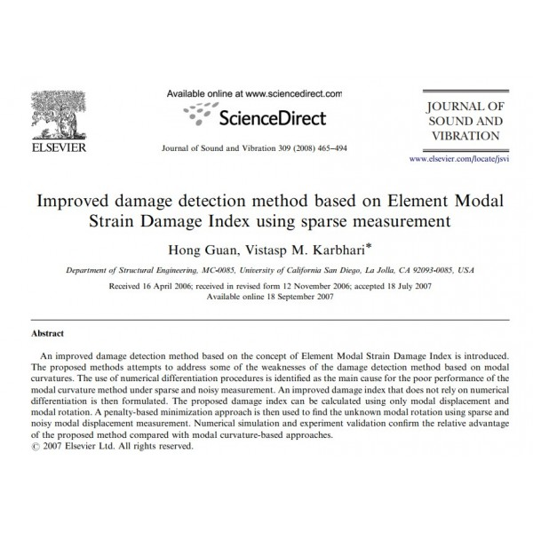 Improved damage detection method based on Element Modal Strain Damage Index using sparse measurement